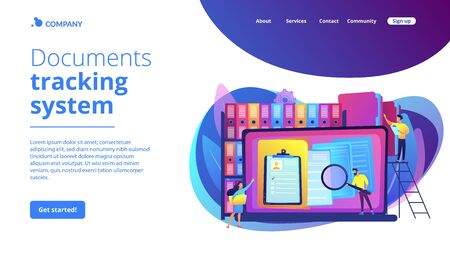 Records management concept landing page  イラスト・ベクター素材