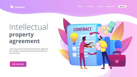Licensing contract concept landing page