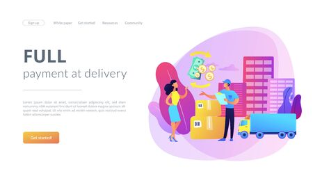 Cash on delivery COD concept landing page