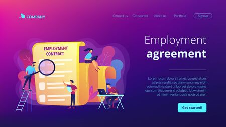 Employment agreement concept landing page Ilustracja