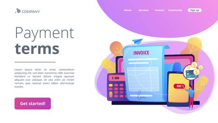 Payment terms concept landing page