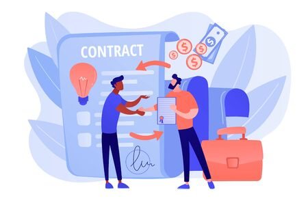 Licensing contract concept vector illustration Illustration