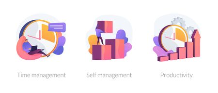 Performance increase ways icons set. Motivation and self discipline, goal achievement. Time management, self management, productivity metaphors. Vector isolated concept metaphor illustrations. Illustration