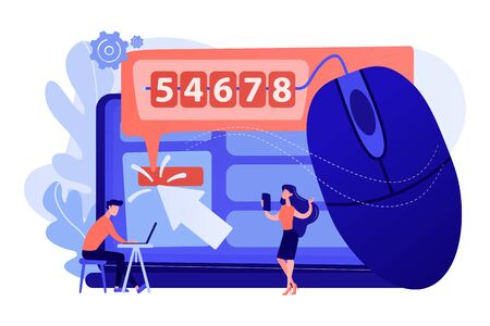 Marketers analyzing digital marketplace. Search engine marketing. Click tracking, clients behavior control, user friendly ad concept. Living coral blue vector isolated illustration 일러스트