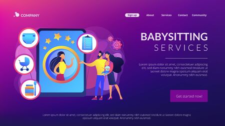 Babysitting services concept landing page