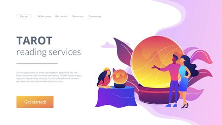 Fortune telling concept landing page Illustration
