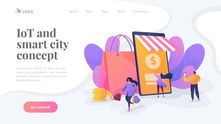 Smart retail in smart city landing page template.