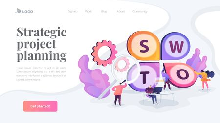 SWOT analysis landing page template. Иллюстрация