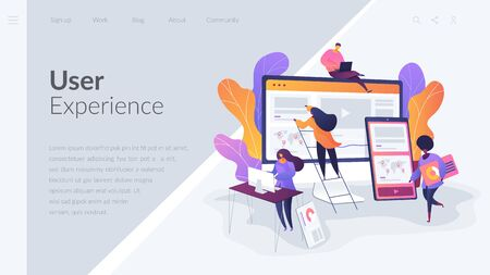 Web design development landing page template. 向量圖像