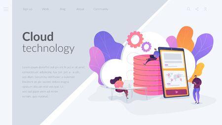Cloud storage landing page template. Illustration
