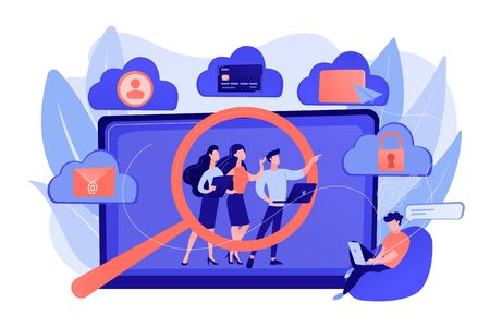 Online security breach, immoral private life offence. Digital ethics and privacy, digital mediums behavior, internet privacy violation concept. Pinkish coral bluevector isolated illustration