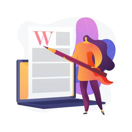 Creative content writing. Copywriting, blogging, Internet marketing. Article text editing and publishing. Online documents. Writer, editor character. Vector isolated concept metaphor illustration