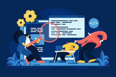 Application development flat vector illustration. Computer software engineering, app performance optimization, programming education. Professional programmers, developers team cartoon characters