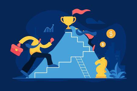 Business competition flat vector illustration Illustration