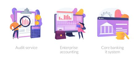Financial analysis icons set. Company analysts, accountants cartoon characters. Audit service, enterprise accounting, core banking it system metaphors. Vector isolated concept metaphor illustrations