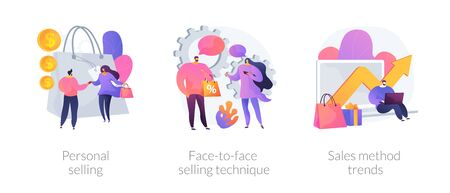 Offline shopping cartoon icons set. Store assistant and buyer character. Personal selling, face-to-face selling technique, sales method trends metaphors. Vector isolated concept metaphor illustrations