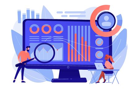 Data analyst oversees and governs income, expenses with magnifier. Financial management system, finance software, IT management tool concept. Pinkish coral bluevector isolated illustration 向量圖像