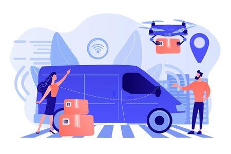 Autonomous courier concept vector illustration.