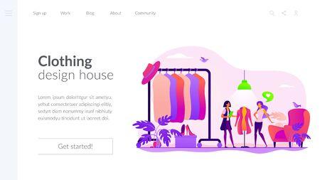 Fashion house landing page template Иллюстрация