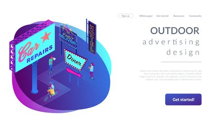 Outdoor advertising design isometric 3D landing page.