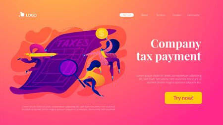 Tax form landing page template. Stockfoto - 131729783