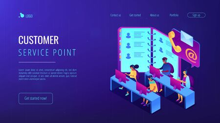 Contact center isometric 3D landing page.
