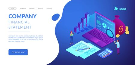 Income statement isometric 3D landing page.