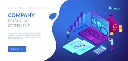 Pagina di destinazione 3D isometrica del conto economico.