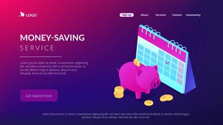 Cash deposit isometric 3D landing page.