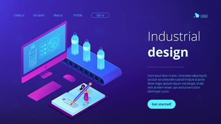 Designer drawing bottle blueprint, computer project and mass production. Industrial design, product usability design, ergonomics development concept. Isometric 3D website app landing web page template