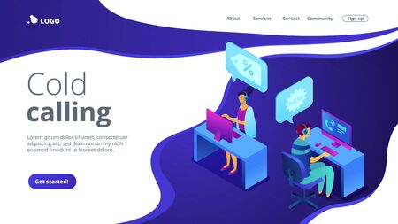 Cold calling isometric 3D landing page.