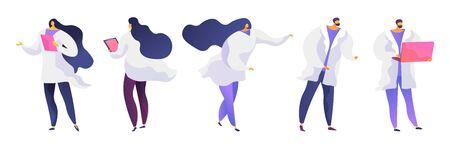 Set di illustrazioni vettoriali piatte di persone in camice bianco
