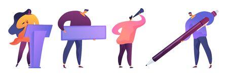 Business people flat vector illustrations set