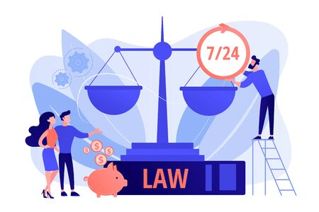 Attorney company, legal consulting and support. Notary clients. Legal services, lawyer referral service, get professional legal help concept. Pink coral blue vector isolated illustration Illusztráció