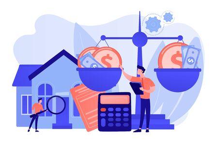 Agencia inmobiliaria, compra y venta de inmuebles. Consulta financiera. Servicios de tasación, valoración de propiedades, concepto de profesionales de tasación. Ilustración aislada de vector azul coral rosa
