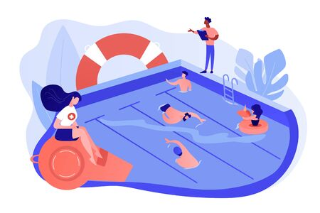 Swimming and lifesaving classes concept vector illustration. Illusztráció