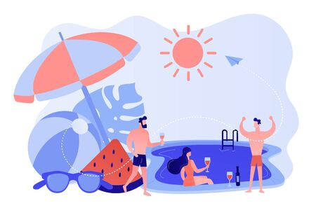 Pool party concept vector illustration.