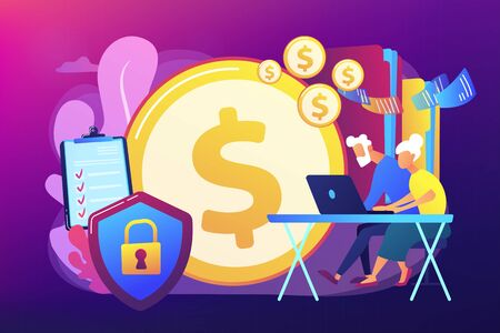 Age pension, money savings. Online banking account protection. Elderly financial security, elderly poverty problem, seniors budget planning concept. Bright vibrant violet vector isolated illustration