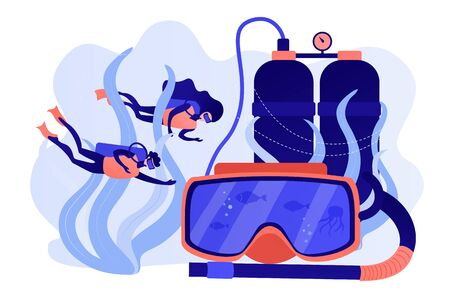 Diving school concept vector illustration.