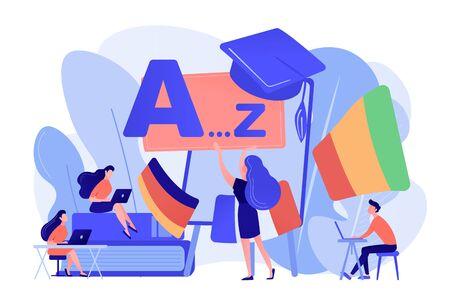 Foreign language workshop concept vector illustration.
