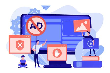 Ad blocking software concept vector illustration.