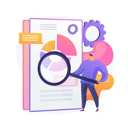Business documents scanning. Electronic online doc with pie chart infographics. Data analytics, annual report, result checking. Man with magnifying glass. Vector isolated concept metaphor illustration 向量圖像