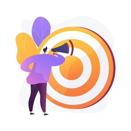 Targeted advertisement campaign. Promotional announcement, customers attraction, promo.Marketer shouting in loudspeaker flat male character. Vector isolated concept metaphor illustration