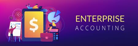 Accountants work with financial transactions software and tablet. Enterprise accounting, IT accounting system, smart enterprise tools concept. Header or footer banner template with copy space.