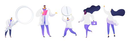Medical doctors flat vector illustrations set. People in white coats cartoon characters. Woman with first aid kit. Men holding magnifying glass and pill. Therapist with clipboard. Healthcare service