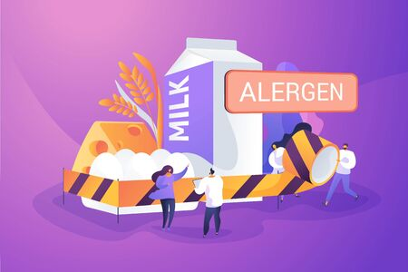 Allergic reaction to milk. Lactose intolerance. Abnormal immune response to food. Food allergy, food allergen ingredient, allergy risk factor concept. Vector isolated concept creative illustration