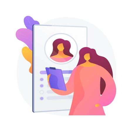 Woman personal profile. Employer holding job candidate CV, employee, resume isolated flat design element. Medical clinic, hospital patient card. Vector isolated concept metaphor illustration Vectores
