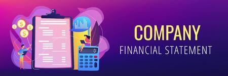 Income statement concept banner header. Vektorové ilustrace