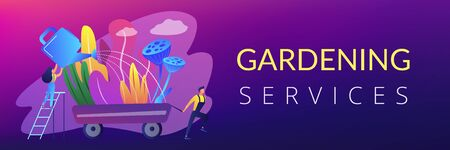 Landscape designer and gardener watering decorative plants on cart with water can. Landscape design, landscape planning, gardening services concept. Header or footer banner template with copy space. Illusztráció
