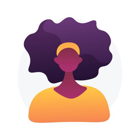 Dark skin woman portrait. Worker ID, driver licence, passport photo. African american ethnicity. Female character icon, social media avatar. Vector isolated concept metaphor illustration